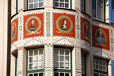 Medallion portraits of Michelangelo, Raphael and other prominent artists painted on Palais Bissing in Georgenstrasse Street 10, Schwabing, Munich, Upper Bavaria, Germany, Europe