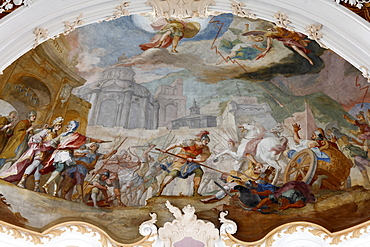 Fresco on the ceiling of St. Michael Church, Berg am Laim, Munich, Bavaria, Germany, Europe