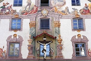 Gattinger House, mural art by Heinrich Bickel 1951, Weilheim, Pfaffenwinkel, Upper Bavaria, Germany, Europe