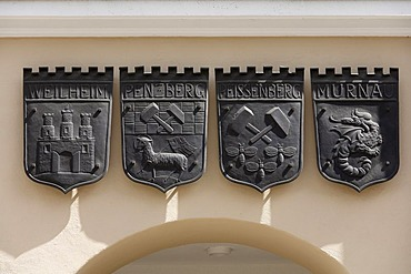 The coat of arms of Weilheim, Penzberg, Peissenberg and Murnau, in Weilheim, Pfaffenwinkel, Upper Bavaria, Germany, Europe
