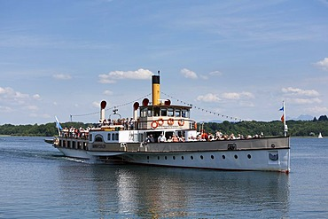 "Pleasure paddle steamer ""Ludwig Fessler"" on Lake Chiemsee, seen from Prien, Chiemgau, Upper Bavaria, Germany, Europe"