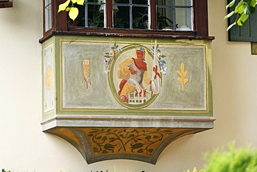 Lueftl painting of St. Florian in Ruhpolding, Chiemgau, Upper Bavaria, Germany, Europe