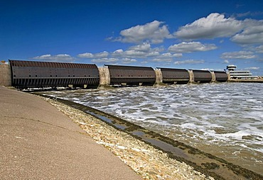 Eider Barrier on the mouth of River Eider near Toenning - largest German coastal protection building, Schleswig-Holstein, Germany