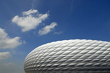 Exterior view of Allianz Arena stadium in Munich, Bavaria, Germany