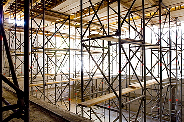 Construction of a hospital, scaffold construction, Gelsenkirchen, North Rhine-Westphalia, Germany
