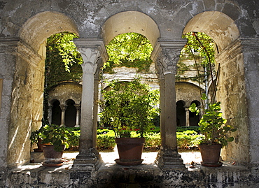 Green courtyard seen through arched stone columns in the priory of St. Paul de Mausole in St. Remy de Provence, France, Europe