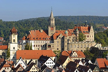 Sigmaringen castle and the old part of town - Baden-Wuerttemberg, Germany, Europe.