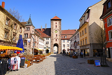 Pedestrian area, Riettor Gate at back, Villingen, Baden-Wuerttemberg, Germany, Europe