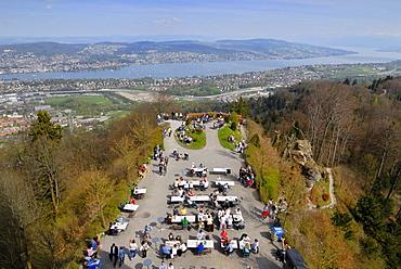 Visitor¥s platform, viewed from Uetliberg Tower, Lake Zuerichsee at back, Zuerich, Canton of Zuerich, Switzerland, Europe
