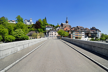 The old Rhine River Bridge connects the German and the Swiss part of the city, Laufenburg, Baden-Wuerttemberg, Germany, Europe