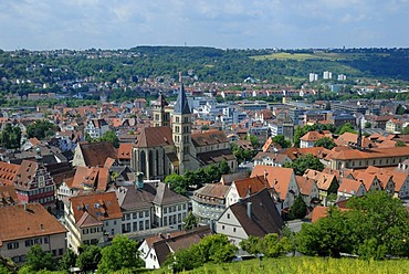 View over the historic city centre with Saint Dionysius' Church, Esslingen am Neckar, Baden-Wuerttemberg, Germany, Europe
