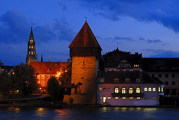 Historic Rheintorturm Tower in front of Muensterturm Tower in the evening, Constance district, Baden-Wuerttemberg, Germany, Europe
