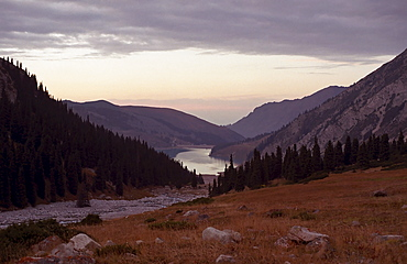 Big Almaty lake. National park Ili Alatay, mountains Zailisky Alatau, Almaty area, Kazakhstan.