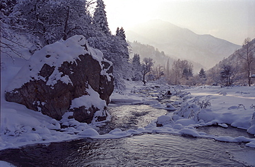 River Ili. National park Ili Alatay, mountains Zailisky Alatau, Almaty area, Kazakhstan.