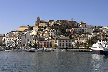 Ibiza city, old part of town with cathedral, Ibiza, Spain