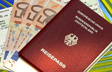 Passport, boarding pass, bank notes