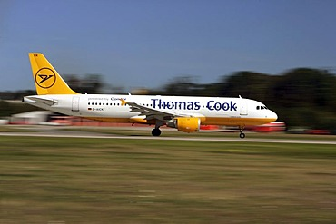 Condor, Thomas Cook, airbus A320 starts on the Frankfurt airport, Hessen, Germany.