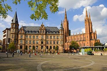 Backside of the Wiesbadener town hall, Wiesbaden, Hessen, Germany.