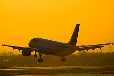 An AEROPLANE starts in the evening light from the Rhein-Main-Airport, Frankfurt, Hessen, Germany.