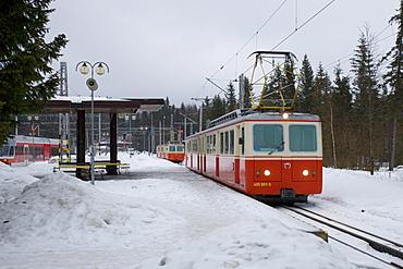 Tatra Electric Railway in the snow, Strbske Pleso, Slovakia, Europe