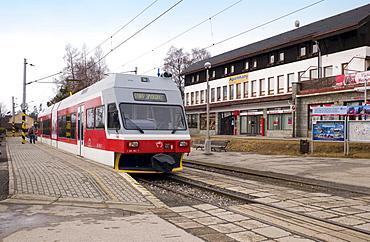 Electric Tatra train at Tatranska Lomnica train station, Slovakia