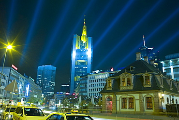 Frankfurt illuminated at night, buildings lit with special lighting on the occasion of the Luminale, biannual lighting festival in Frankfurt, Germany