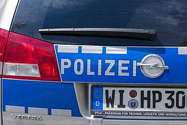 Police cars, rear view, detail, Germany, Europe