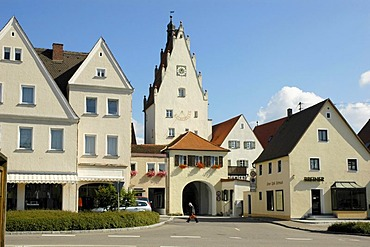 Town gate, Monheim in the Altmuehl Valley Nature Park, Bavaria, Germany, Europe