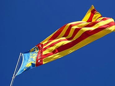 The flag of the region Valencia, Spain,