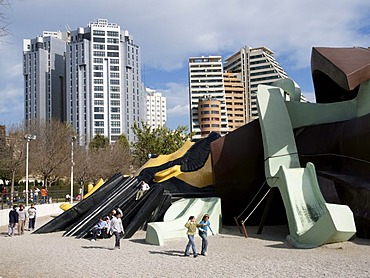 Modern town design with a children`s playground in Valencia, Spain