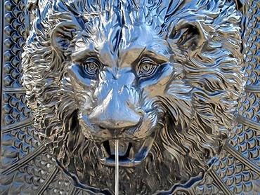 Lion head, decorative sculpture on a fountain, Leipzig, Saxony, Germany