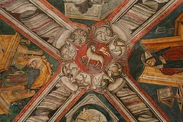 Ceiling fresco, rock-grotto of the saint Benedikt, Subiaco, Latium, Italy