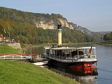 Landscape with Elbe, Wehlen, Saxon Switzerland, Saxony, Germany