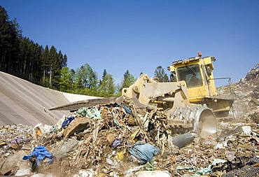 Waste and garbage truck at disposal site Riederberg, Woergl, Tyrole, Austria
