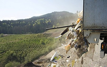 Waste being delivered at disposal site, Riederberg, Woergl, Tyrole, Austria