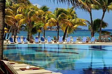 Hotel pool, sea view, Trou Biches, Mauritius, Mascarene Islands, Indian Ocean