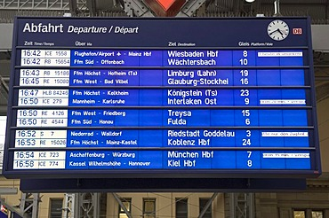 Display panel, main station, Frankfurt, Hesse, Germany