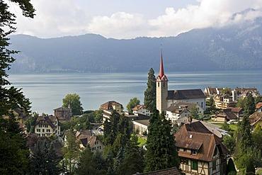 Weggis with a church spire, Lucerne canton, Switzerland