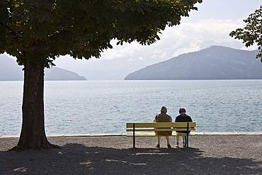 Pensioner at the lake, Lucerne, Switzerland