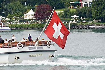 Swiss flagg on a boat, Lucerne, canton Lucerne, Switzerland