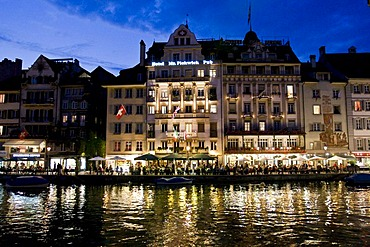 Night shot of the old town of Lucerne with the Lake of Lucerne, canton Lucerne, Switzerland