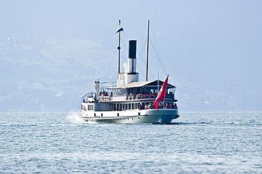 Paddle wheel steamer on the Lake of Lucerne, canton Lucerne, Switzerland