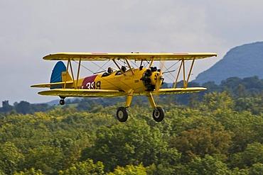 Boing Stearman, Europe's big vintage aeroplane meeting on the Hahnweide, Kirchheim-Teck, Baden Wuerttemberg , Germany