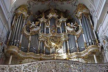 Organ, baronial church, Amorbach, Hesse, Germany