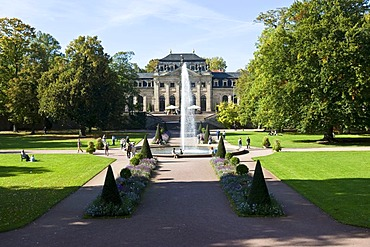 Orangery with fountain, in the palace garden of the town castle of Fulda, Fulda, Hesse, Germany