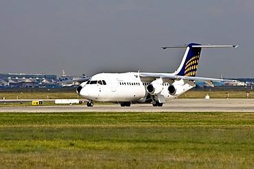 Eurowings BAe 146-300, Startbahn 18 West, Airport Frankfurt, Hesse, Germany
