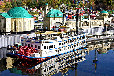 Model of the port of Hamburg, Legoland, Guenzburg, Bavaria, Germany