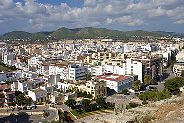 View to the old town of Eivissa, Ibiza, Baleares, Spain