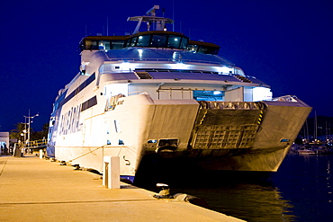Car ferry in the harbour of the old town, Ibiza, Baleares, Spain