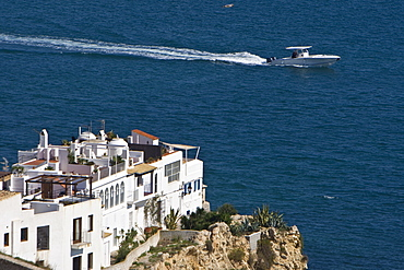Old building at the coast, motorboat, Eivissa, old part of town, Ibiza, Balearic Islands, Spain
